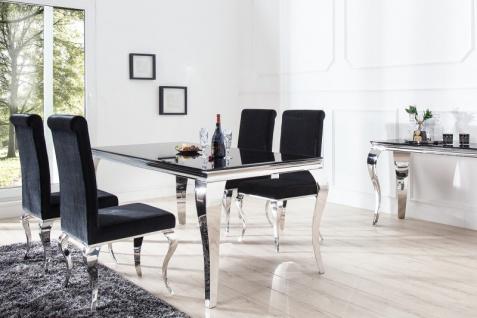 Casa Padrino Luxus Esszimmer Set Schwarz / Silber - Esstisch 200 cm + 4 Stühle - Luxus Qualität - Modern Barock - Vorschau 3