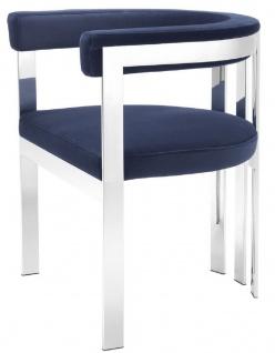 Casa Padrino Luxus Esszimmerstuhl mit Armlehnen Mitternachtsblau / Silber 61 x 56 x H. 73 cm - Edelstahl Küchenstuhl mit edlem Samtstoff - Luxus Küchenmöbel