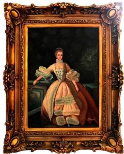 Casa Padrino Barock Öl Gemälde Damen Porträt Gold Prunk Rahmen 101 x H. 80 cm - Barockmöbel