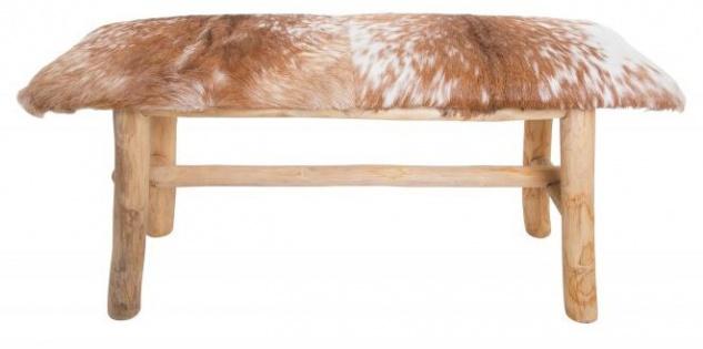 Casa Padrino Designer Ziegenfell Sitzbank Braun / Weiss 92 cm x 30 cm H. 48 cm - Designer Sitzbank - Unikat
