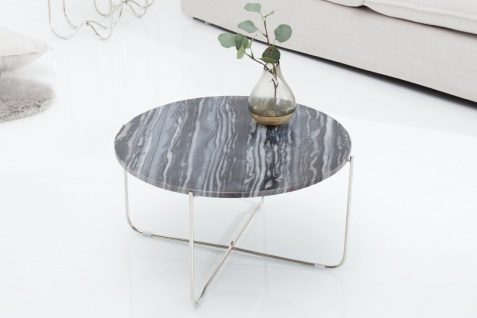 Casa Padrino Designer Beistelltisch mit Marmorplatte Ø 60 cm Grau / Silber H. 33 cm - Unikat - Vorschau 5