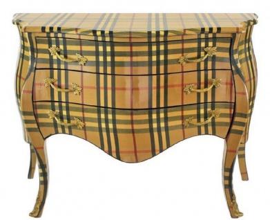 Casa Padrino Barock Kommode mit 3 Schubladen Beige / Mehrfarbige Streifen 120 x 50 x H. 80 cm - Handgefertigte Barockmöbel