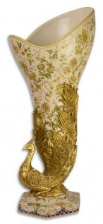 Casa Padrino Jugendstil Vase im Pfau Design Mehrfarbig / Gold 22 x 23, 6 x H. 55, 9 cm - Barock & Jugendstil Deko