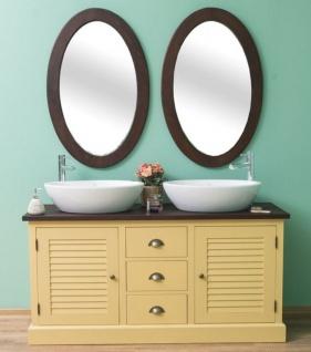 Casa Padrino Landhausstil Badezimmer Set Gelb / Dunkelbraun - 1 Doppelwaschtisch & 2 Wandspiegel - Massivholz Badezimmermöbel im Landhausstil