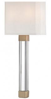 Casa Padrino Luxus Wandleuchte Antik Messingfarben / Weiß 22, 9 x 10, 2 x H. 54, 6 cm - Moderne Wandlampe mit Kristallglas und Seiden Lampenschirm