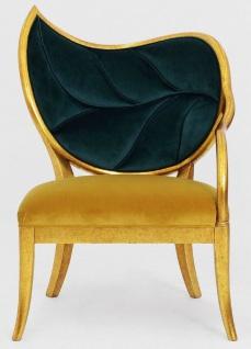 Casa Padrino Luxus Art Deco Sessel Dunkelgrün / Gold / Antik Gold - Handgefertigter Massivholz Lounge Sessel mit edlem Samtstoff - Wohnzimmer Möbel - Art Deco Möbel