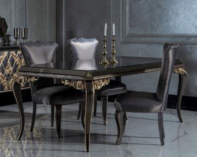 Casa Padrino Luxus Barock Esszimmer Set Blau / Schwarz / Gold - 1 Esstisch mit Glasplatte & 6 Esszimmerstühle - Edle Esszimmer Möbel im Barockstil