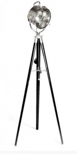 Industrial Studioleuchte Marine II Vintage Lampe Stehleuchte Schwarz / Chrom - Nickel Finish - Luxus Qualität