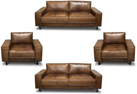 Casa Padrino Luxus Echtleder Wohnzimmer Set - Verschiedene Farben - 2 Sofas & 2 Sessel - Wohnzimmer Leder Möbel - Luxus Qualität