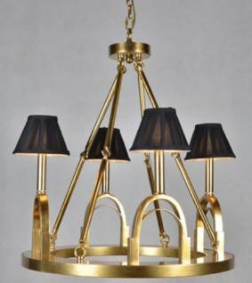 Casa Padrino Luxus Kronleuchter Steigbügel Antik Gold / Schwarz Ø 62 x H. 68 cm - Hotel & Restaurant Lampe