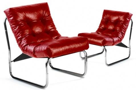 Designer Salon Stuhl Rot Lederoptik, sehr komfortabler Sitz, moderner Wohnzimmerstuhl - Vorschau 2