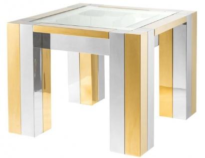 Casa Padrino Luxus Edelstahl Beistelltisch Silber / Gold 65 x 65 x H. 50 cm - Designer Beistelltisch mit Glasplatte
