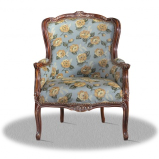 Casa Padrino Barock Salon Antik Stil Sessel mit Blumenmuster - Luxus Qualität
