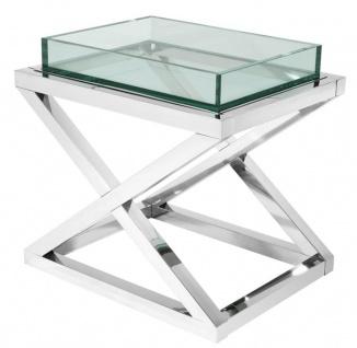 Casa Padrino Designer Beistelltisch Silber 61 x 48 x H. 58, 5 cm - Luxus Hotel Möbel
