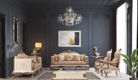 Casa Padrino Luxus Barock Wohnzimmer Set Braun / Weiß / Gold - 2 Sofas & 2 Sessel & 1 Couchtisch - Prunkvolle Barock Wohnzimmer Möbel