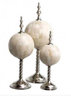 Casa Padrino Luxus Dekoration aus 3 kugelförmigen Skulpturen Büffelhorn / Messing vernickelt - Hotel Einrichtung