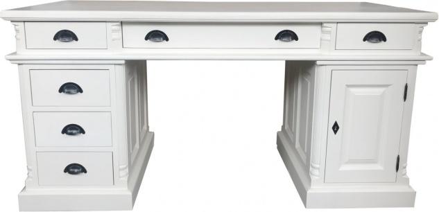 Casa Padrino Luxus Schreibtisch Kiefer Massiv England Weiß 160 cm - Englischer Schreibtisch - Antik Stil - Empire Jugendstil Barock Kolonial Shabby Chic