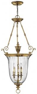Casa Padrino Luxus Barock Hängeleuchte Messingfarben Ø 57, 2 x H. 113 cm - Hängelampe aus massivem Messing - Edel & Prunkvoll