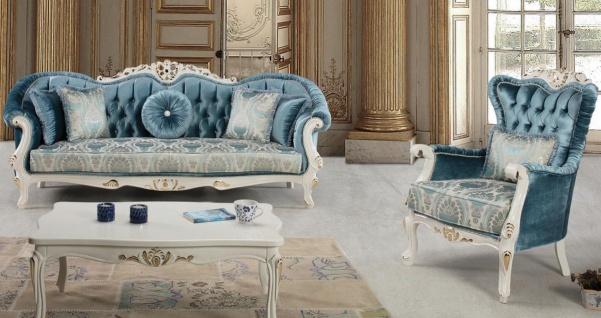 Casa Padrino Luxus Barock Wohnzimmer Set Blau / Weiß / Gold - 2 Sofas & 2 Sessel & 1 Couchtisch - Prunkvolle Wohnzimmer Möbel im Barockstil