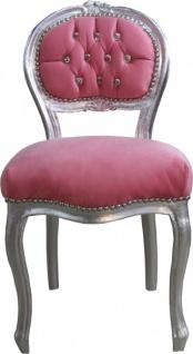 Casa Padrino Barock Damen Stuhl Rosa / Silber mit Bling Bling Glitzersteinen - Schminktisch Stuhl