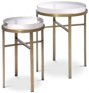 Casa Padrino Luxus Beistelltisch Set Messingfarben - 2 Runde Edelstahl Tische mit Glasplatte - Luxus Wohnzimmer Möbel