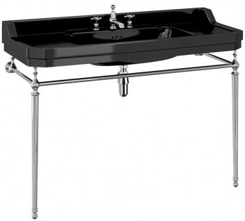 Casa Padrino Luxus Jugendstil Waschtisch Schwarz / Silber 121 x 51 x H. 90 cm - Porzellan 3-Loch Stand Waschbecken mit Untergestell - Badezimmer Möbel