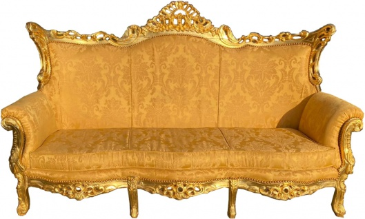 Casa Padrino Barock 3er Sofa Gold Bouquet Muster / Gold - Wohnzimmer Möbel Couch Lounge - Antik Stil