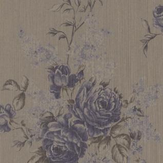Casa Padrino Barock Textiltapete Grau / Taupe / Blau 10, 05 x 0, 53 m - Tapete mit Blumenmuster