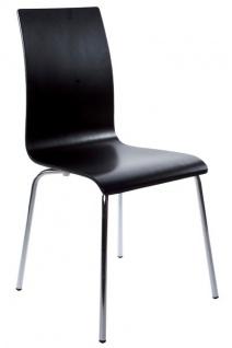 Designer Stuhl aus Holz und verchromtem Stahl Schwarz, Esszimmerstuhl, moderner Wohnzimmerstuhl - Vorschau 1