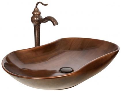 Casa Padrino Jugendstil Waschtisch Set Dunkelbraun / Kupfer 67 x 41, 5 x H. 37, 2 cm - Rustikaler Einhebelmischer mit antiker Marmoroberfläche und elegantem Waschbecken