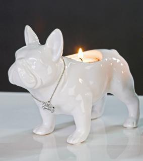 Designer Leuchter Bulli weiss Höhe 15 cm, Breite 19 cm edle Skulptur aus Keramik für Hundenliebhaber - Edel & Prunkvoll