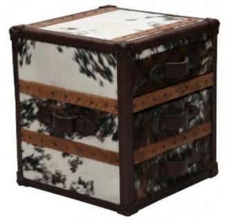 Casa Padrino Luxus Beistelltisch mit 2 Schubladen Braun / Weiß 52 x 48 x H. 50 cm - Handgefertigter Beistelltisch im Kofferlook