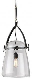 Casa Padrino Luxus Hängeleuchte Schwarz Ø 30, 5 x H. 61 cm - Pendelleuchte mit rundem Glas Lampenschirm