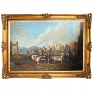 Riesiges Handgemaltes Barock Öl Gemälde Krieg Mod.3 Gold Prunk Rahmen 225 x 165 x 10 cm - Massives Material