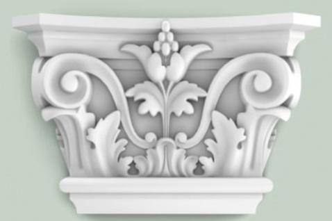 Casa Padrino Barock Zierelement Säulen Kopfteil Weiß 22, 8 x 6, 2 x H. 14, 9 cm - Wanddeko im Barockstil