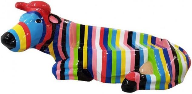Casa Padrino Designer Sitzbank Kuh mit Streifen Mehrfarbig 200 x H. 98 cm - Wetterbeständige Kuh Skulptur Gartenbank - Garten & Terrassen Deko Accessoires