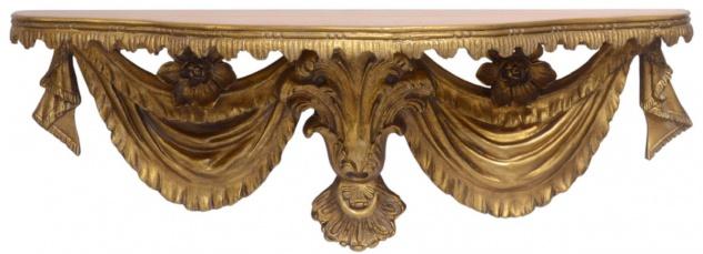 Casa Padrino Barock Wandkonsole Antik Gold 92 x 24, 7 x H. 32, 8 cm - Barock Deko Accessoires