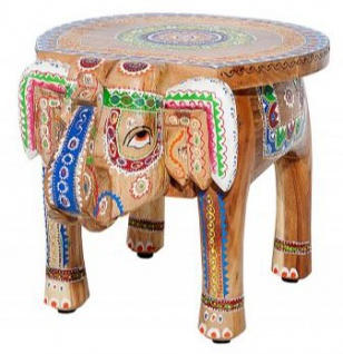 Casa Padrino Designer Fußhocker Bunt Elefant 38 x 50 x H. 36 cm - Unikat