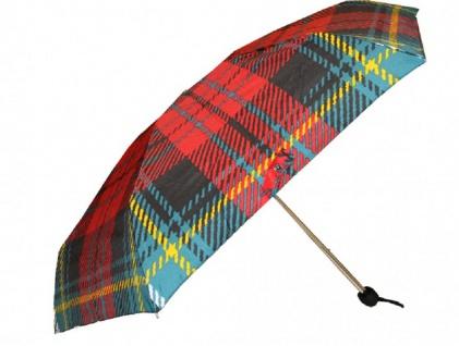 Jean Paul Gaultier Luxus Designer Regenschirm in elegantem Plaid-Muster Mod3 - Taschenschirm