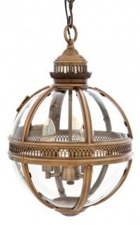 Casa Padrino Barock Hängeleuchte Antik Messing Design Kugel Durchmesser 30 cm, Höhe 50 cm - Barock Schloss Lampe Leuchte Laterne