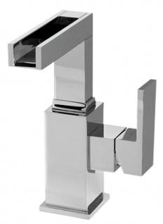 Luxus Badezimmer Waschtischarmatur Silber H. 18, 8 cm - Einhand-Waschtischbatterie mit Wasserfall-Auslauf