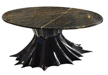 Casa Padrino Luxus Designer Couchtisch Hochglanz Schwarz / Braun 180 x 110 x H. 48 cm - Handgefertigter Wohnzimmertisch mit ovaler Marmorplatte - Luxus Wohnzimmer Möbel - Luxus Qualität