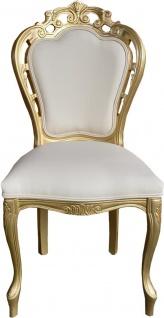 Casa Padrino Luxus Barock Esszimmer Stuhl Creme Lederoptik / Gold - Designer Stuhl - Luxus Qualität