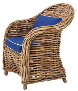 Casa Padrino Designer Rattan Sessel 70 x 70 x H. 88 cm - Luxus Wohnzimmer Möbel - Vorschau 2