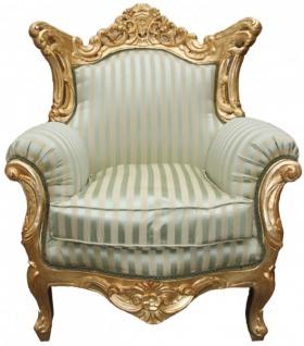 "Casa Padrino Barock Sessel "" Al Capone"" Mod 2 Jadegrün/Beige / Gold Möbel Antik Stil"