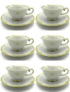 Casa Padrino Luxus Barock Kaffeetassen 6er Set Weiß / Gold - Edles Reichenbach Porzellan - Made in Germany