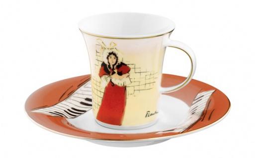 """Handgearbeitete Moccatasse aus Porzellan mit einem Motiv von T. Lautrec """" May Belfort"""" 0, 09 Ltr. - feinste Qualität aus der Tettau Porzellanfabrik - wunderschöne Espressotasse"""