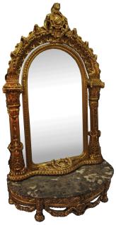 Casa Padrino Barock Spiegelkonsole mit Marmorplatte Gold / Schwarz 145 x 55 x H. 250 cm - Garderobenmöbel im Barockstil - Edel & Prunkvoll