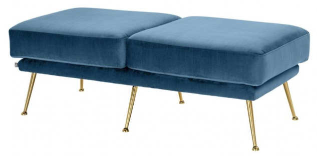 Casa Padrino Luxus Sitzbank Blau / Messingfarben 125 x 58 x H. 45 cm - Designermöbel