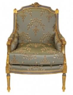 Casa Padrino Barock Lounge Thron Sessel Empire Jadegrün Muster / Gold - Ohren Sessel - Ohrensessel Tron Stuhl - Vorschau 2